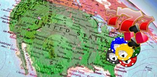 Gambling on map of America