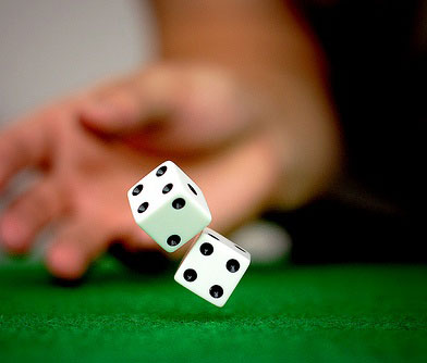 Craps two dices on the table