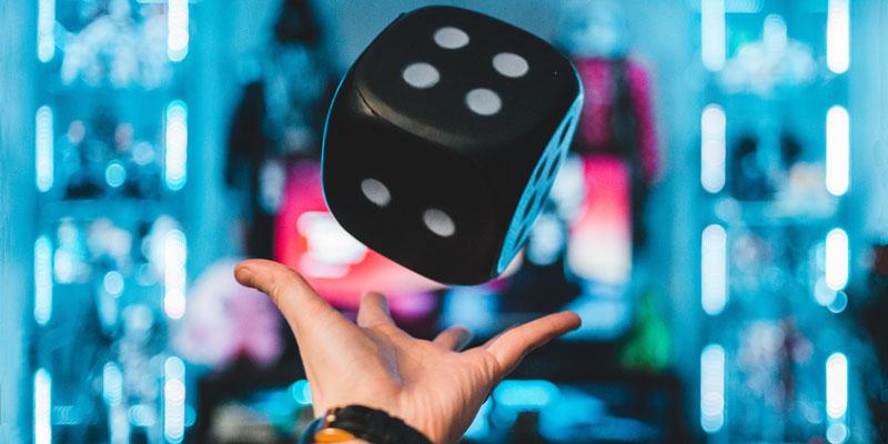 Casino Big Dice Thrown in the air